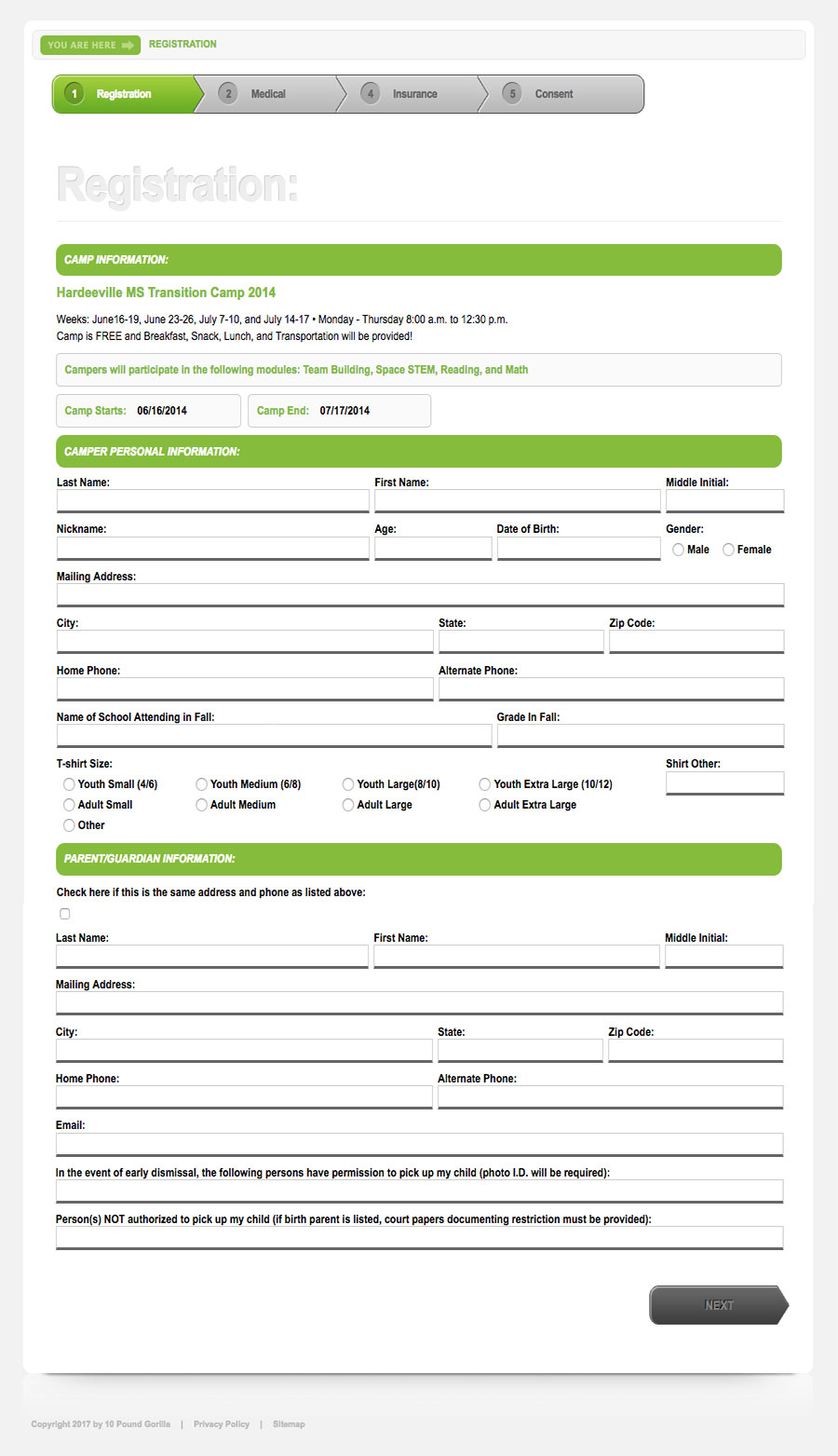 PCG Registration Form Screenshot