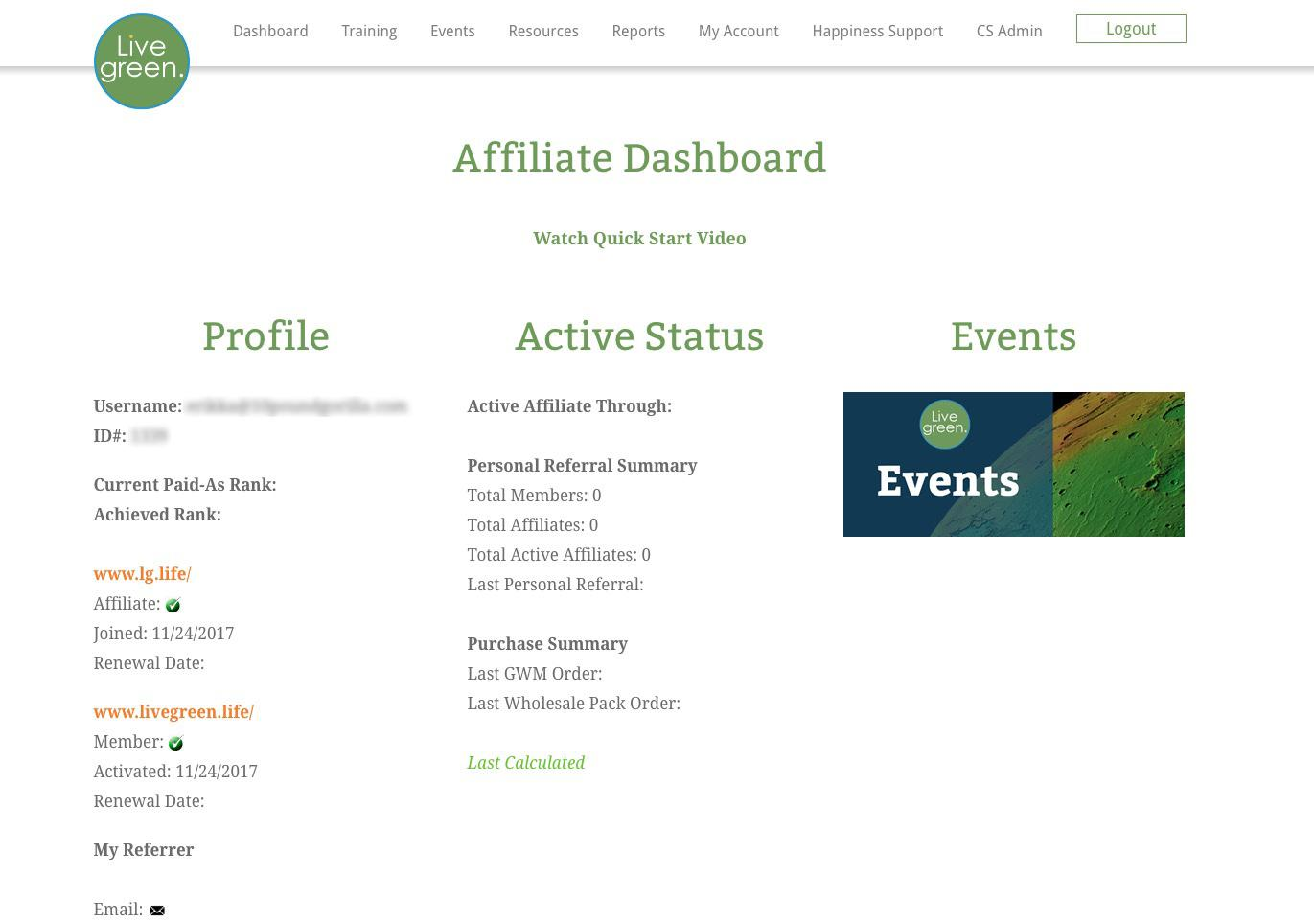 Affiliate Dashboard Before