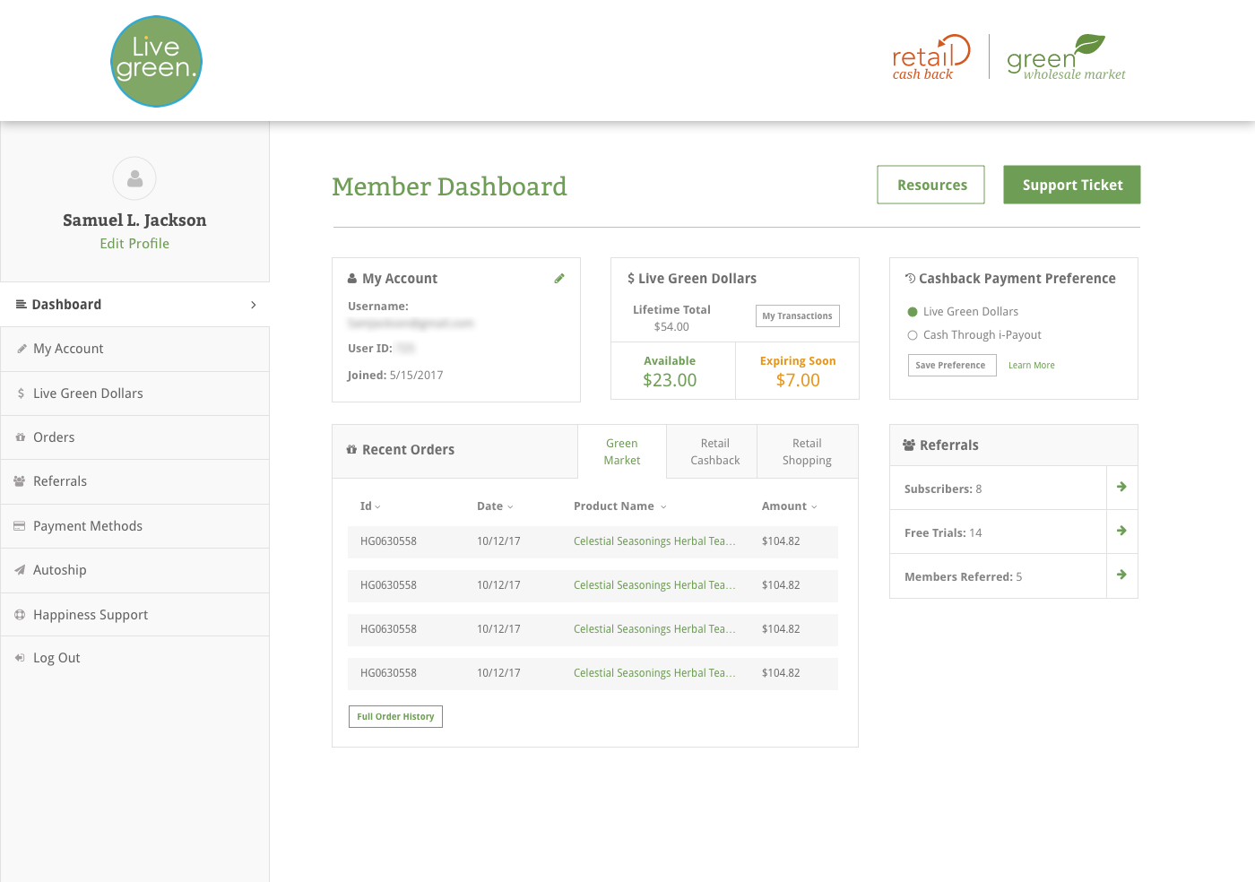 Member Dashboard After