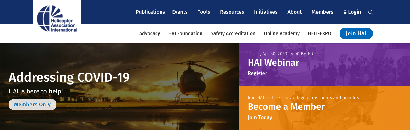 HAI website with clear call-to-actions