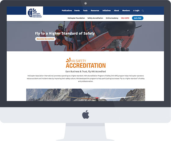 Screenshot of new HAI Safety Accreditation landing page
