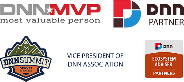 DNN MVP, DNN Partner, DNN Summit, Vice President of DNN Association, and DNN Ecosystem Adviser Logos