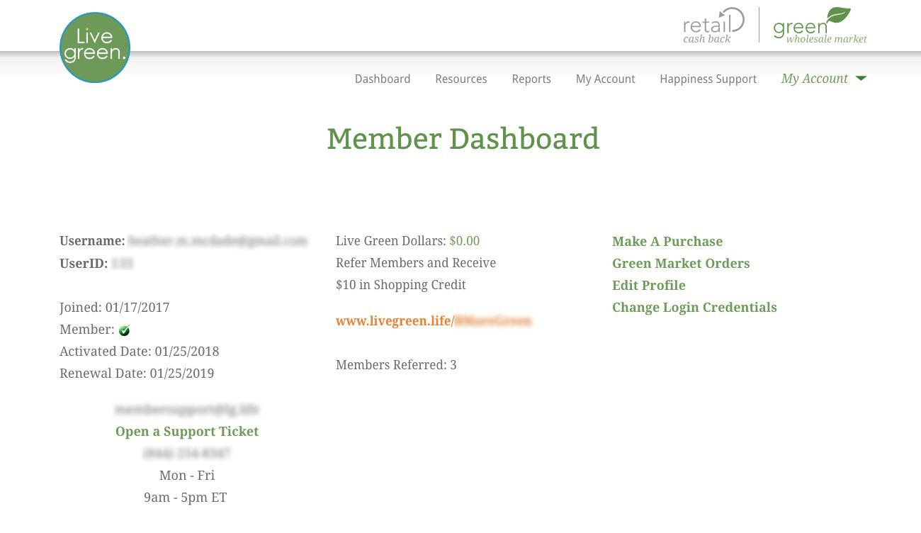 Member Dashboard Before